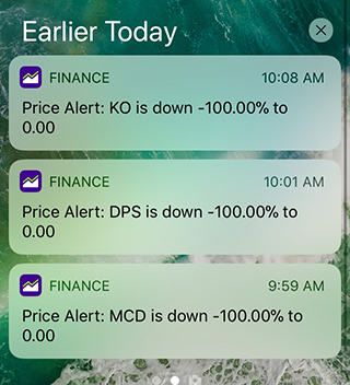 A screenshot of smartphone notifications from Yahoo! Finance