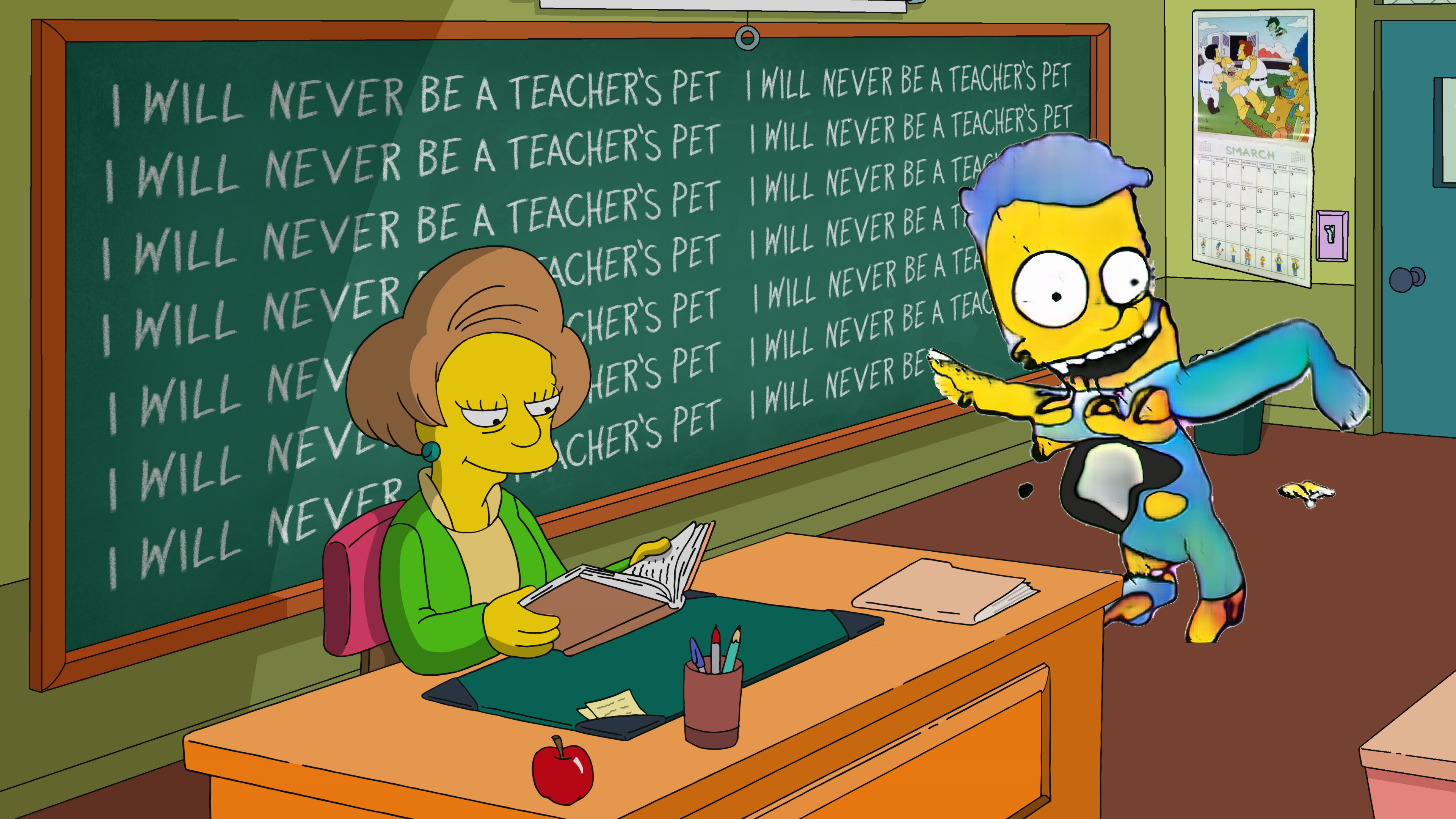 An image of Mrs. Krabappel reading a book while a fucked-up Bart-like creature writes on the chalkboard. Also, there is a Smarch calendar.