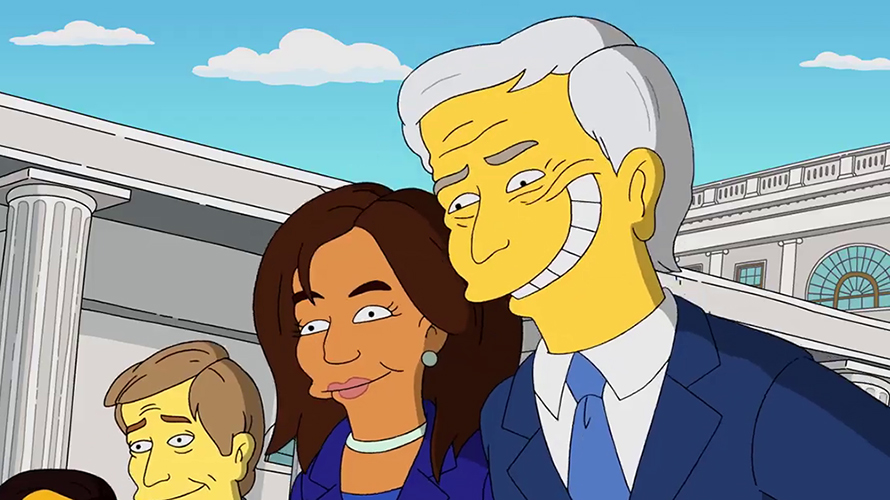 An image of Joe Biden, Kamala Harris, and an unknown third person from The Simpsons.