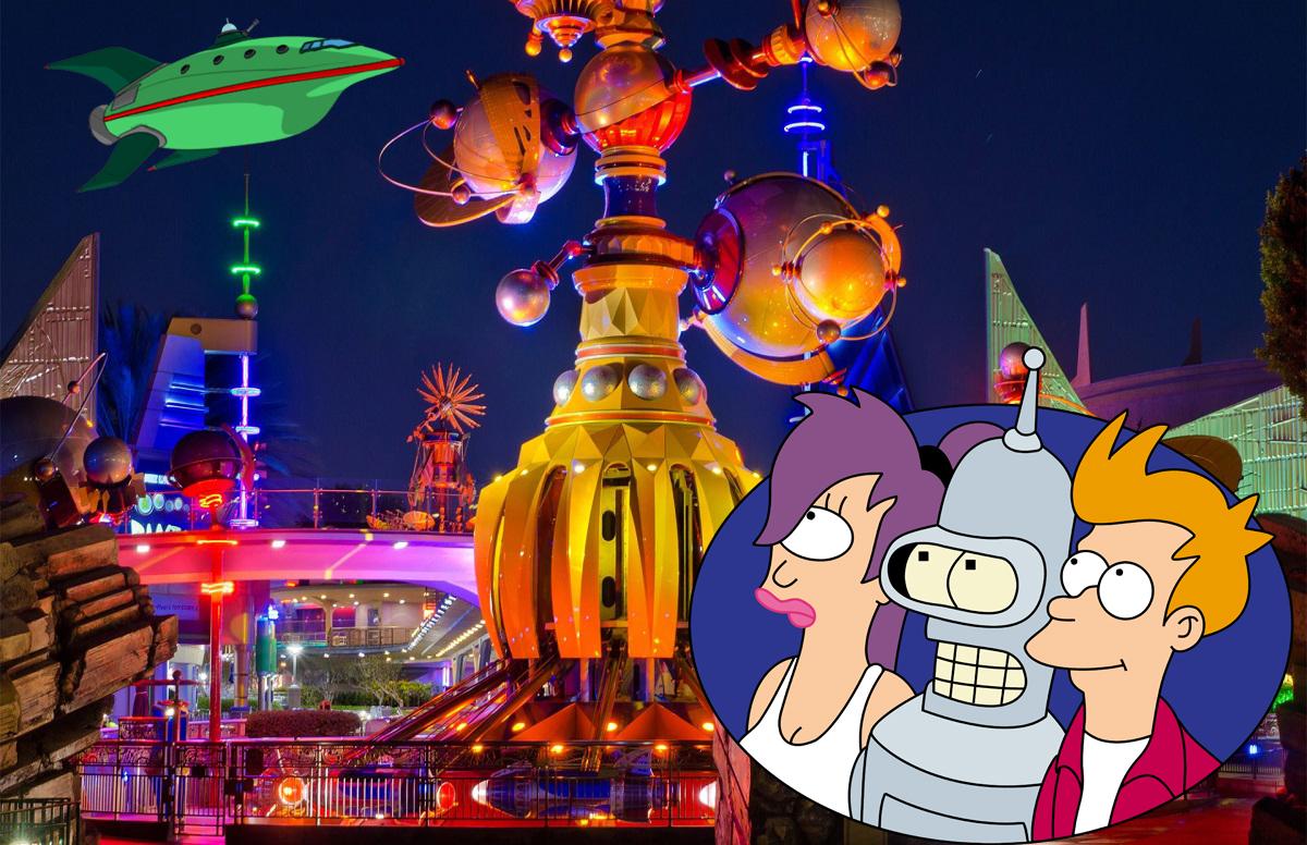 An image of Futurama characters superimposed over an image of Tomorrowland at Disneyland at night.