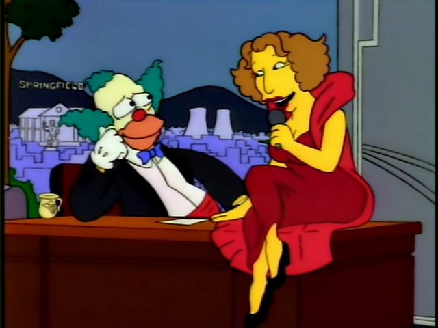 An image of Krusty the Clown with Bette Midler