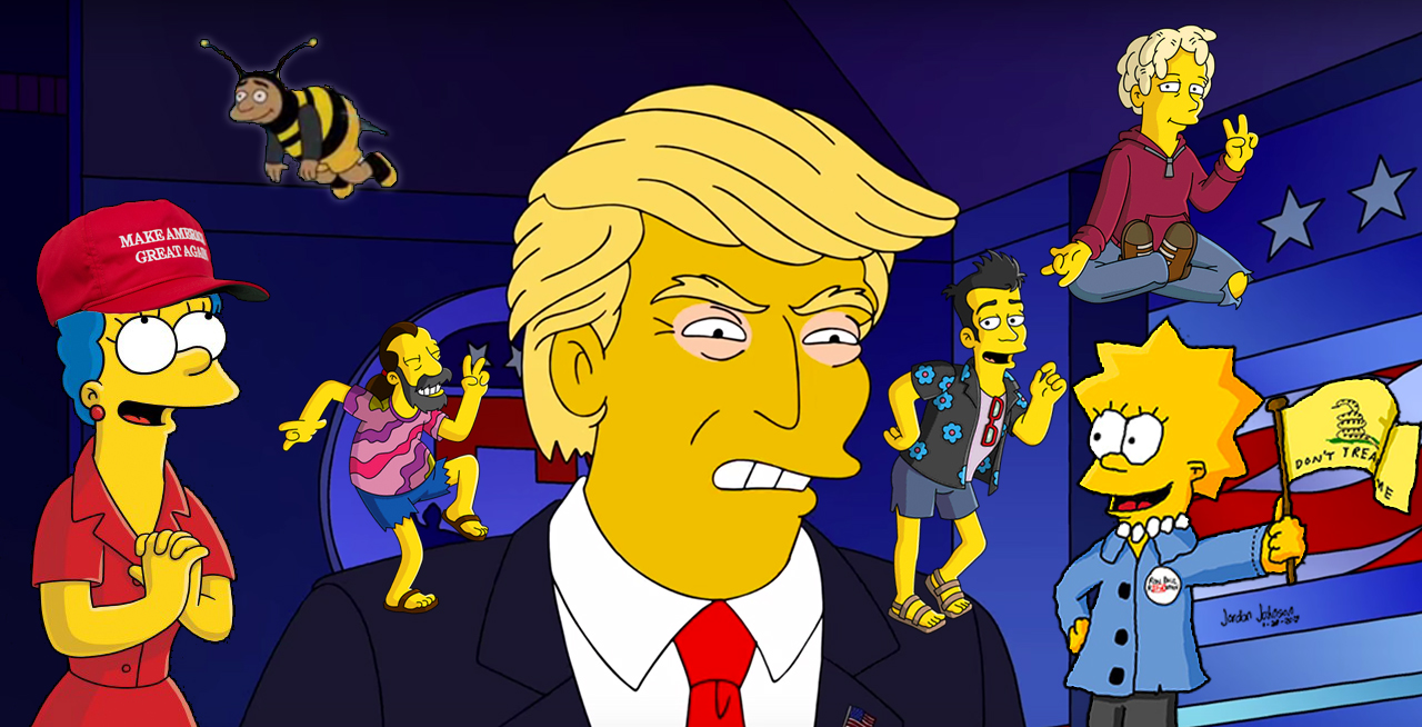 An image of Donald Trump surrounded by Simpsons characters who definitely voted for him.